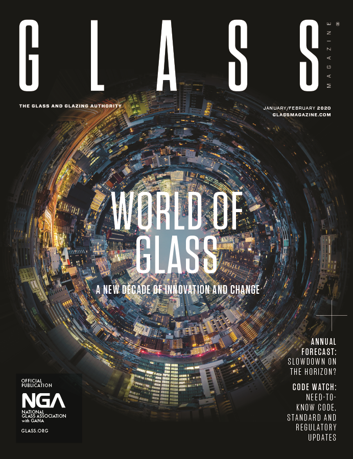 Graphic of glass around the world on cover of January/February Glass Magazine