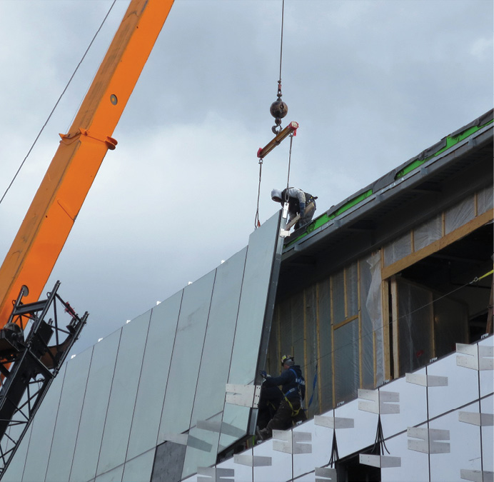YUW 750 XT unitized curtain wall being installed at Gates Hall, Cornell University in New York.