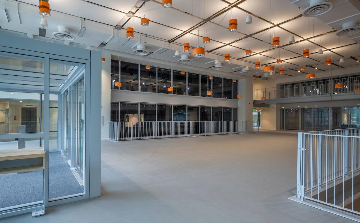 New School Interior Features Variety of Glass
